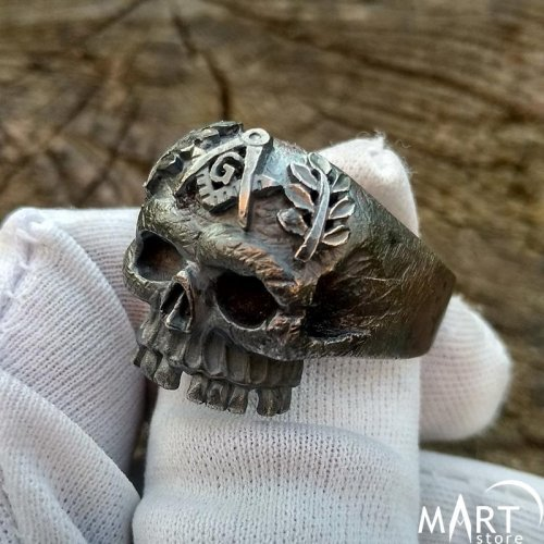 Masonic Skull Ring Unique Biker Skull Freemason Ring