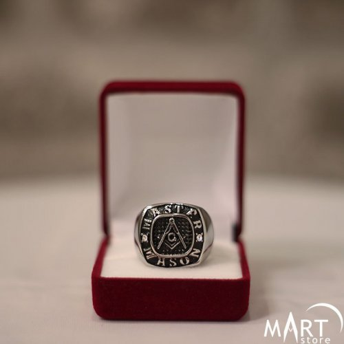 Master Mason Ring - Blue Lodge Ring 2mm Gemstone - Silver and Gold