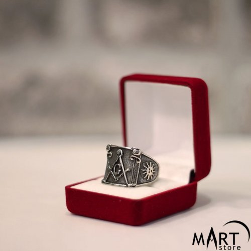 Master Mason Ring - Square G, Masonic Pillars and Sun - Silver and Gold