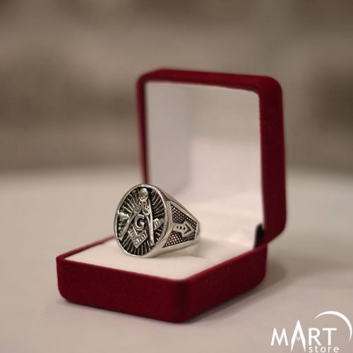 Master Mason Ring - Blue Lodge 3rd Degree Masonic Ring - Silver and Gold