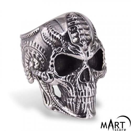 Men's Biker Ring - Biker Skull Ring Alien