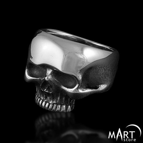 Men's Biker Skull Masonic Ring - Silver and Gold