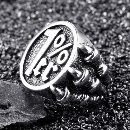One Percenter Ring Biker Ring Dragon Claws Men's Biker Ring