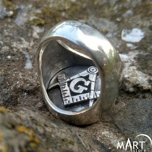 Reversible Head Masonic Ring Double Sided Ring Baphomet