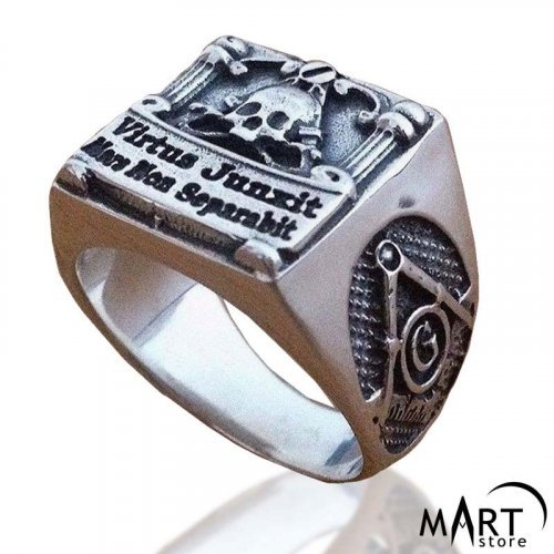Scottish Rite Masonic Ring - Masonic Skull Virtus Junxit Mors Non Separabit - Silver and Gold