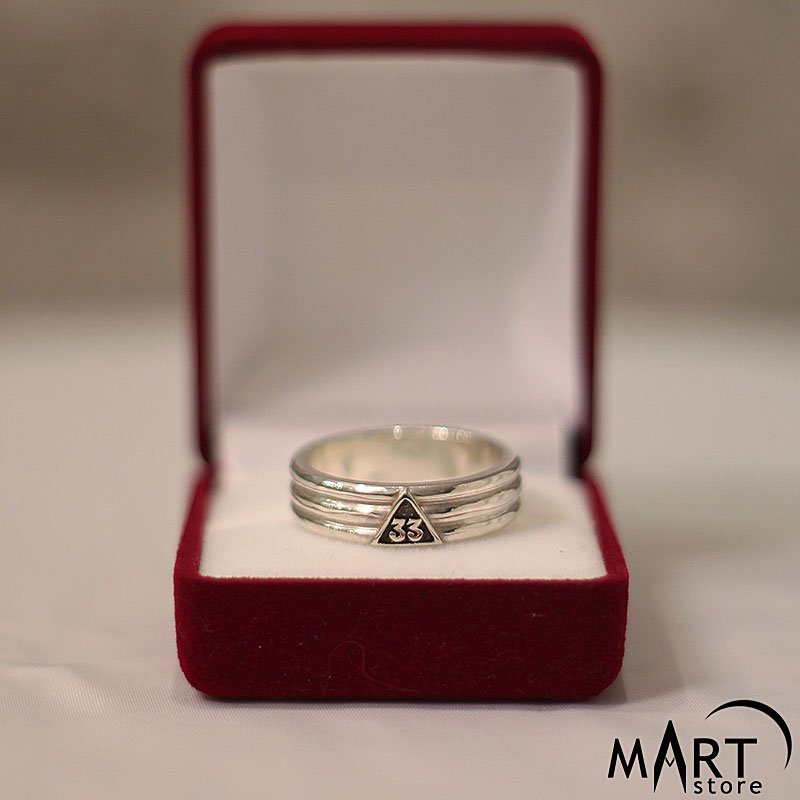 Scottish Rite Ring - Silver and Gold - 33rd Degree Masonic Band Ring