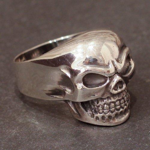 Biker Skull Ring - Motorcycle Skull Ring Angry Face