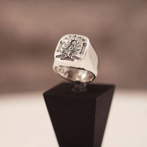 Solid Freemason Signet ring - Masonic pillars Boaz and Jachin - Silver and Gold