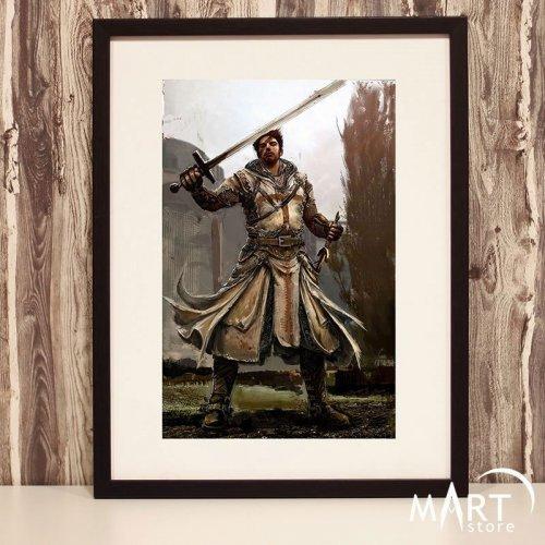 Crusader Poster, Freemason Wall Art Decoration - Armed Crusader 7