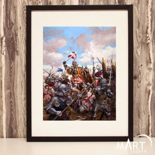 Crusader Poster, Freemason Wall Art Decoration - Bataille de Castillon