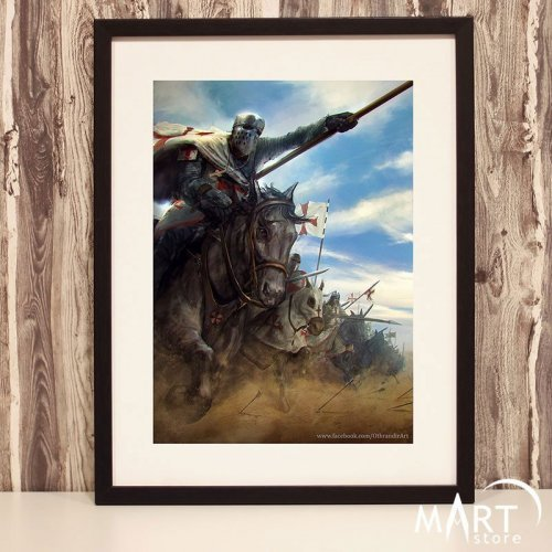 Crusader Poster, Freemason Wall Art Decoration - Knights Charge