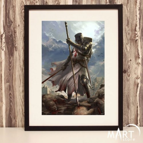 Crusader Poster, Freemason Wall Art Decoration - Heathens Punisher