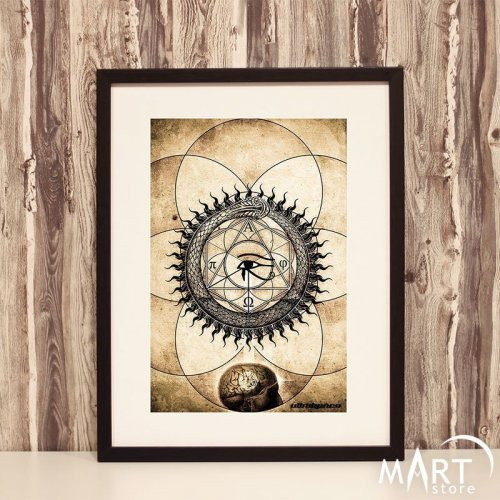 Freemason Illuminati Poster - Ouroborus, Pyramid, Eye of Providence, Square and Compass