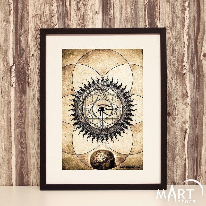 Freemason Illuminati Poster - Ouroborus, Pyramid, Eye of Providence, Square  and Compass