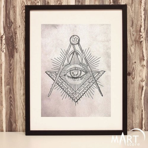 Masonic Poster, Freemason Wall Art Decoration - Illuminati Providence