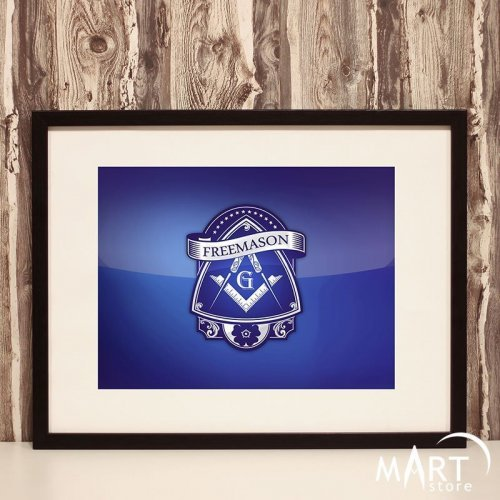 Masonic Poster, Freemason Wall Art Decoration - Blue Brotherhood