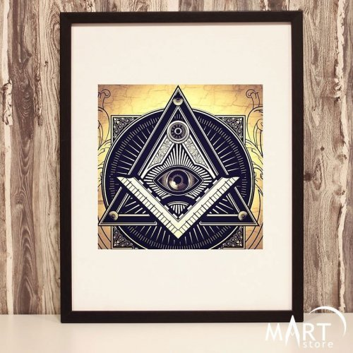 Masonic Poster, Freemason Wall Art Decoration - Square and Compass 4