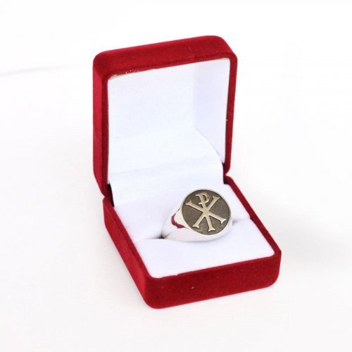 Christian Religious Chi-Rho ring - The Monogram of Christ - Silver and Gold