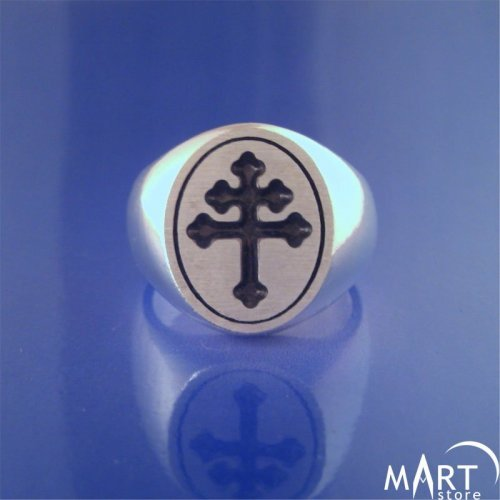Cross of Lorraine Signet ring - Freemason Knights Templar Signet Ring - Silver and Gold