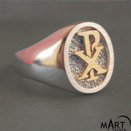 Chi-Rho Ring - Freemason Knights Templar Christian Ring - Silver and Gold