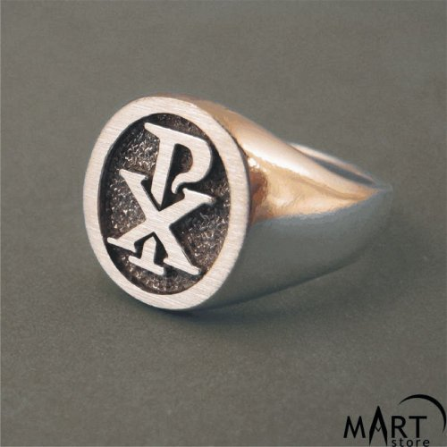 Chi-Rho Ring - Freemason Knights Templar Christian Ring - Silver and Gold