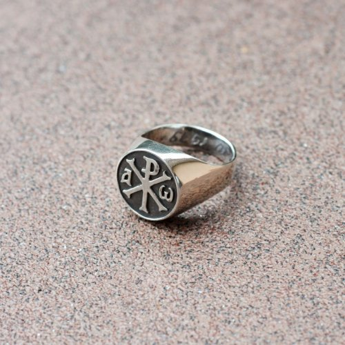 Chi-Rho Alpha and Omega ring - The Monogram of Christ, Silver/Gold