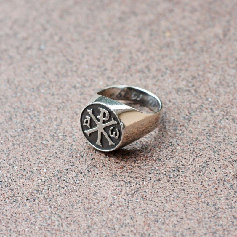 Chi Rho Ring Alpha And Omega Knights Templar Masonic