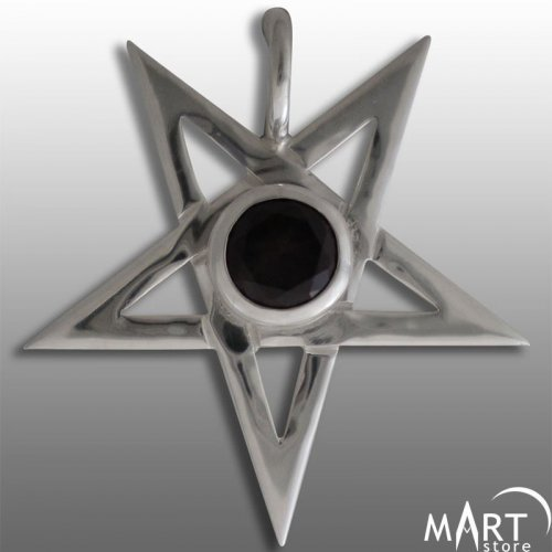 Occult Pentagram Pendant Gemstone - Silver and Gold