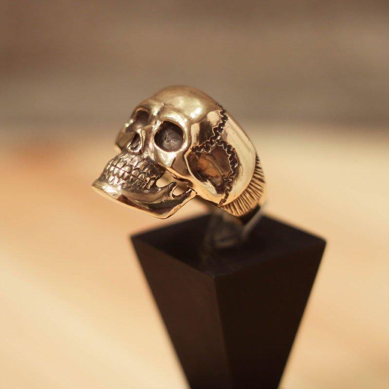 Gold Biker Skull Ring - Hudge Skull Ring